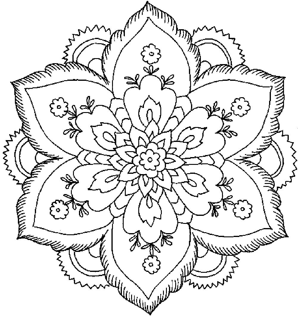 Раскраска узоры из цветов